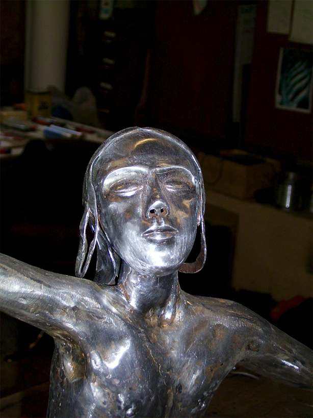 Work taking place on the little dancer in mild steel