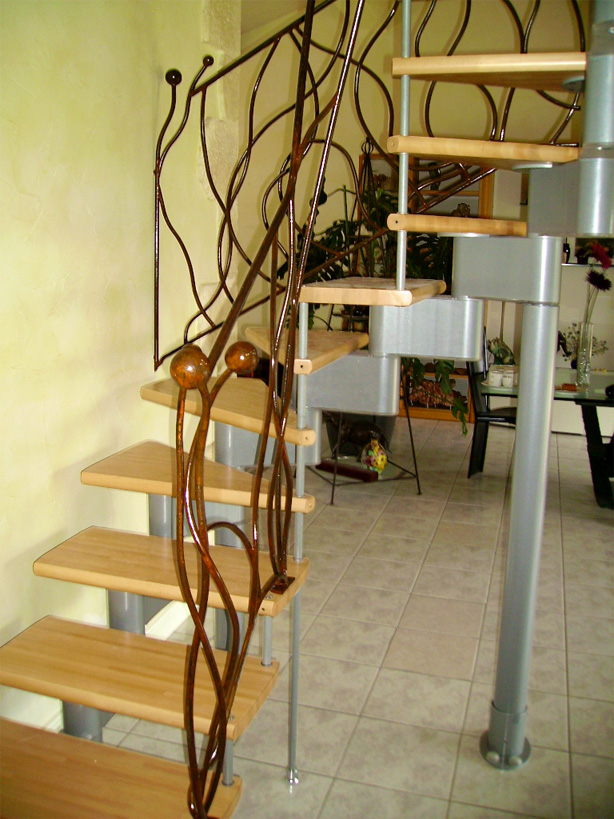 Custom wrought iron balustrade for an industrial staircase.