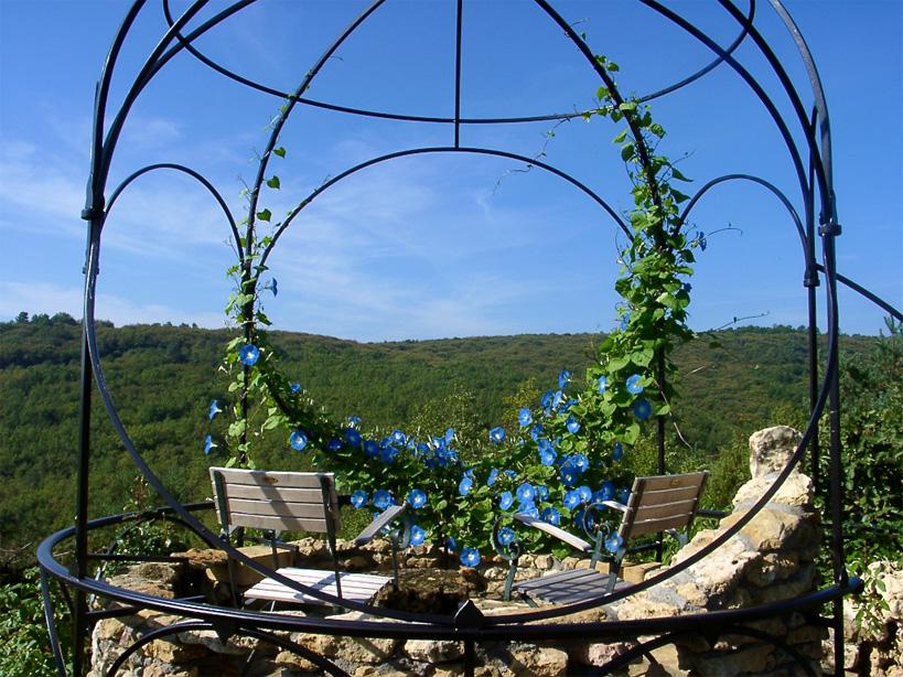 L'idée était de ne pas obstruer la vue par des barres ou de la végétation ce qui explique cette grande ouverture centrale.